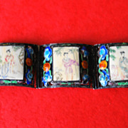 Chinese Sterling Silver Filigree Enamel Bracelet