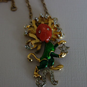 Rare DeNicola Lion Necklace With Bakelite, Enamel and Rhinestones