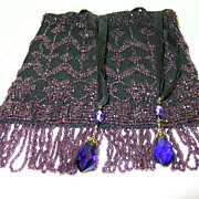 SALE Flapper Beaded Bag Amethyst Glass Beads