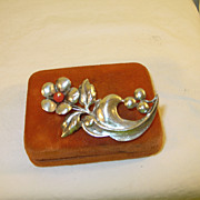 SALE Vintage Brooch Sterling & Coral