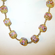 SALE Venetian Art Glass Necklace Birthday Cake
