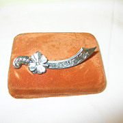 SALE Vintage Brooch Sterling Scimitar & Shamrock