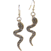 SALE Vintage Earrings Sterling & Marcasite Cobras
