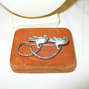 SALE Vintage Sterling Brooch Double Love Birds