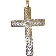 SALE Vintage Sterling Pendant Cross Chased Design