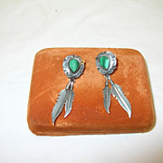 SALE Vintage Earrings Sterling & Malachite Native American by QT