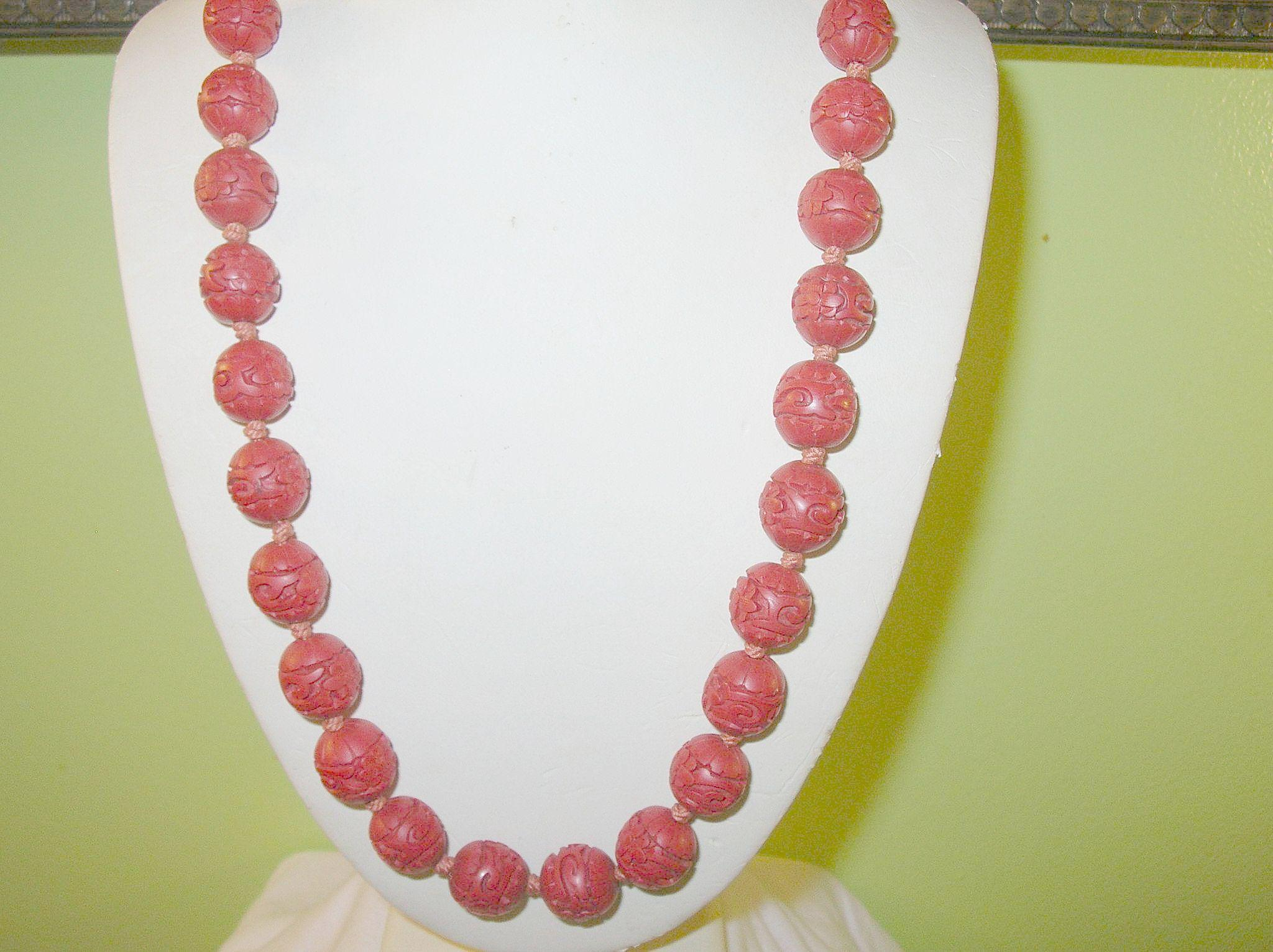 vintage cinnabar bead necklace from robbiaantique on ruby