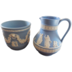 Wedgwood Jasper Blue Sugar Bowl and Creamer