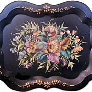 Exquisite Antique Hand Painted Black Victorian Chippendale Floral Lavender Pink Blue Pansies .