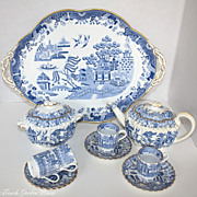 Antique 19th Century Copeland Spode Chelsea Gilt Blue Willow Demitasse Tea Set Biscuit Box