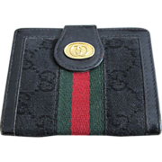 Vintage Gucci Black Leather ID Wallet!