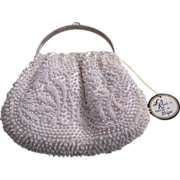 Vintage White Beaded La Regale Evening Bag!