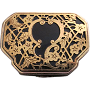 Vintage Black and Goldtone Art Deco Compact!