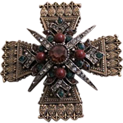 Vintage Maltese Cross Brooch by Art!