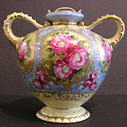 Antique Double - Handled Nippon Vase, Spectacular Color, Hand Painted,