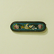 Micro Mosaic Antique Brooch with Dove and Flowers