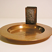 Arts & Crafts Potter Studio Hammered Copper Match Holder and Dish