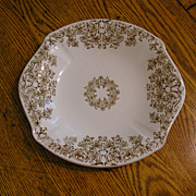 Brown Transferware Biscuit, Cake Plate