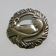 Birks Sterling Stylized Bird Pin, Art Deco