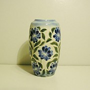 Czech Blue Green Airbrushed Vase