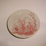 Red Transferware Plate, Aesthetic Movement, Water Fowl