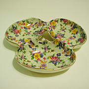 Erphila Warwick Chintz Three-Part Relish, Candy Dish