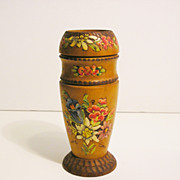 Czech Carved, Painted Wood Vase
