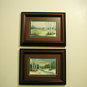 Miniature Original Watercolor Painting Pair