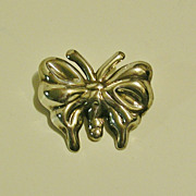 Heavy Sterling Silver Butterfly Pendant, Mexico