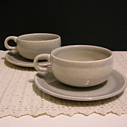 Russell Wright American Modern Gray Cups and Saucers, Set of 2