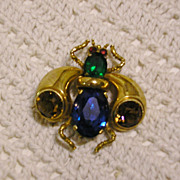 CzechoSlovakia Crystal and Brass Bee Brooch