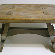 Old Primitive Folk Art Stool - Mortise and Peg Construction