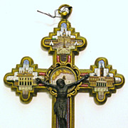 Micro Mosaic Reliquary Crucifix , Pope Pius X