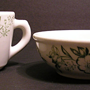 Green Transferware Sterling China Restaurant Cup and Bowl