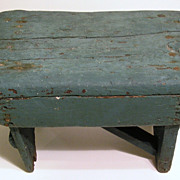 SOLD Old Primitive Hand-Crafted Painted Stool