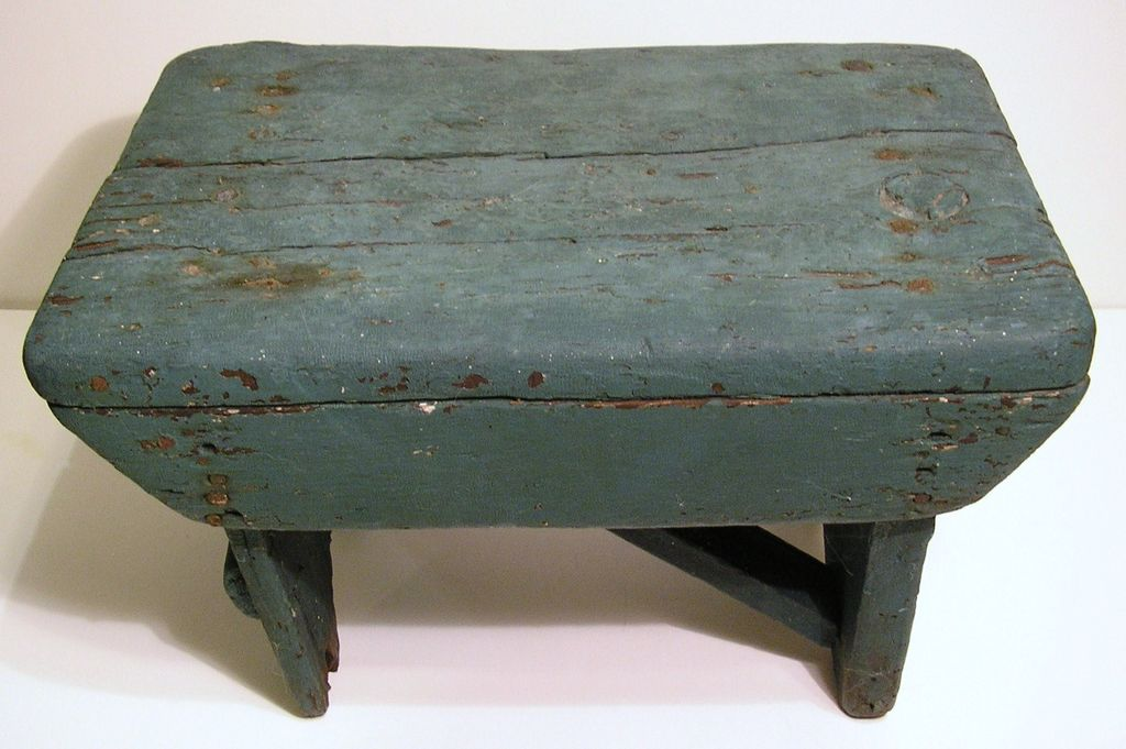 Old Primitive Hand-Crafted Painted Stool