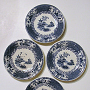 Set of 4 Butter Pats, Allertons Transferware, Chinese Pattern