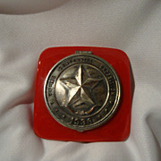 Red Bakelite Compact: Memento Souvenir of the 1936 Texas Centennial Exposition