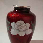 1950s Cloisonne on Pigeon Blood Basse-Taille Vase by Sato of Japan - Bird