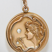 SOLD Rare Art Nouveau Locket with Woman Blowing Bubbles