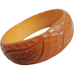 Bakelite Bracelet Carved Butterscotch c1940's