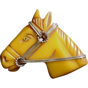 Bakelite Carved Horse Head Pin Yellow c1930's