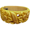 Bakelite Bracelet Carved Clamper Cream Corn 1940�s