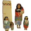 Native American Skookum Family: Vintage 12-1/2 inch Mother with Box, Two Babies, Papoose, Two Children