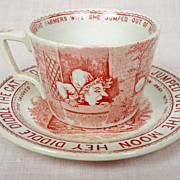 SOLD c 1888 Red Transferware Child's Antique Tea cup and Saucer / Plate, Whittaker & Staffords