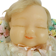 Vintage 13 inch Wax Baby Made by Gladys MacDowell, Blond Human Rooted Hair, Vintage Baby ...