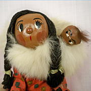 SOLD Vintage Jointed Alaskan Eskimo Mother and Baby in Parka Hood