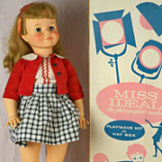 Cute Miss Ideal Terry Twist, 30 inch Blond, Red Campus Outfit, Box and Inserts