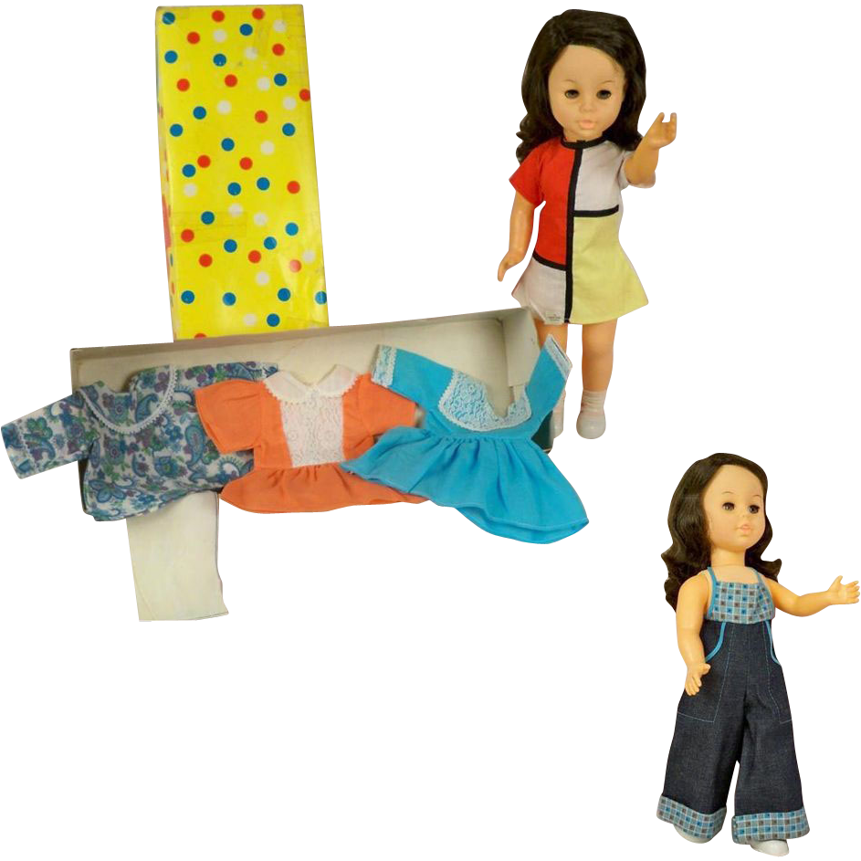 Camay Hong Kong Vintage Girl with Box and Five Outfit Wardrobe for 16 inch Doll