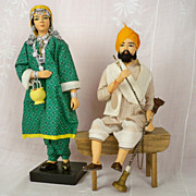 SOLD Sikh Hookah Man and Kashmir Woman, Vintage, Terracotta